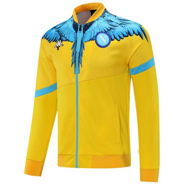 Napoli Jacket Football Sportswear Tracksuit Full Zipper Men's Training Kit Athletic Outdoor Soccer Coat Yellow 2021-2022