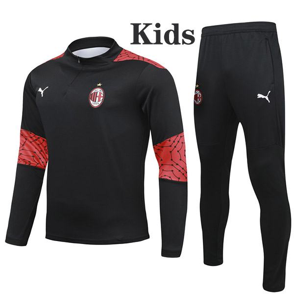 AC Milan Tracksuit Kids Kit Soccer Pants Suit Sports Set Hight Necked Cleats Youth Clothes Children Football Training Jersey Black 2020-2021