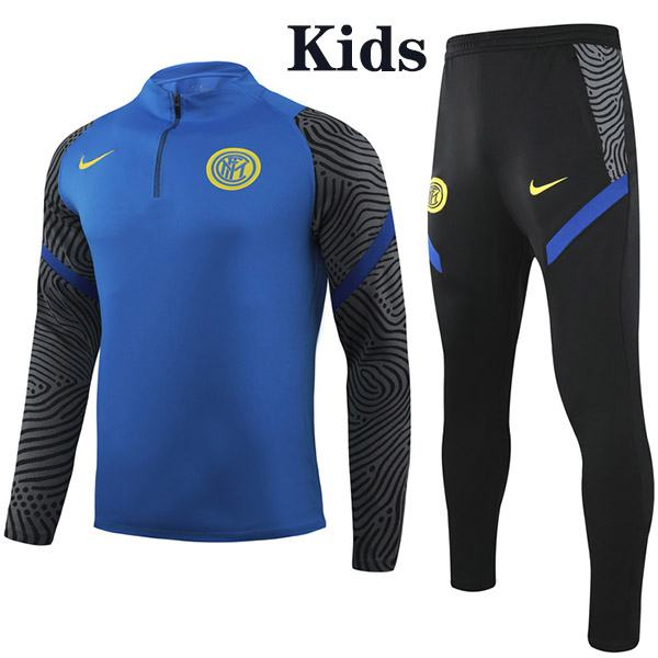 Inter Milan  Suit Tracksuit Kids Kit Soccer Pants Suit Sports Set Hight Necked Cleats Youth Clothes Children Football Training Jersey Blue 2020-2021
