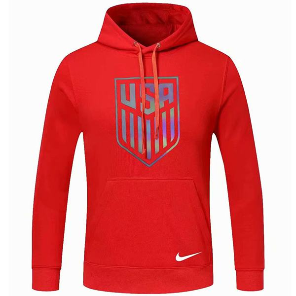 USA Hoodie Jacket Football Sportwear Tracksuit Full Zipper United States Men's Training Kit Athletic Outdoor Soccer Coat Red 2020-2021